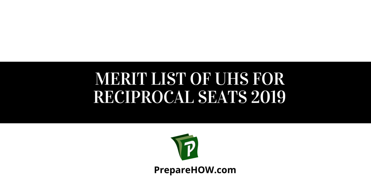 Merit List of UHS for Reciprocal seats 2019