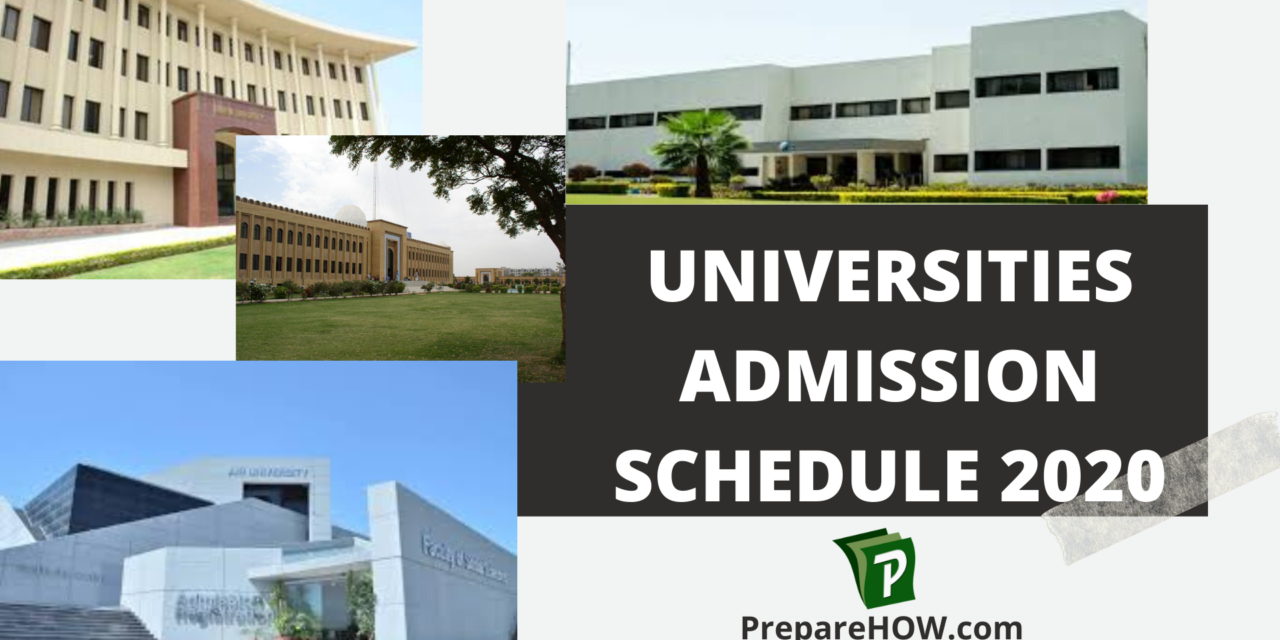 Admission Schedule of 40 universities in 2020