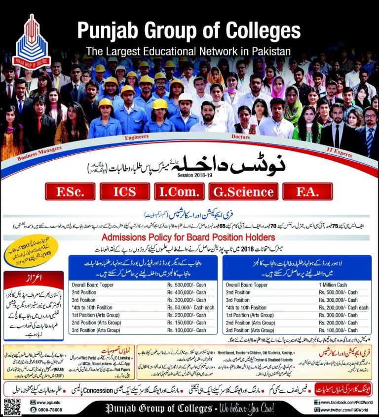 Punjab College Admissions for 2020 and 2021